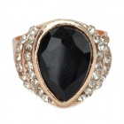 Stylish Water Drop Style Artificial Crystal Copper Aluminum Alloy Ring - Black (16.4mm-Diameter)