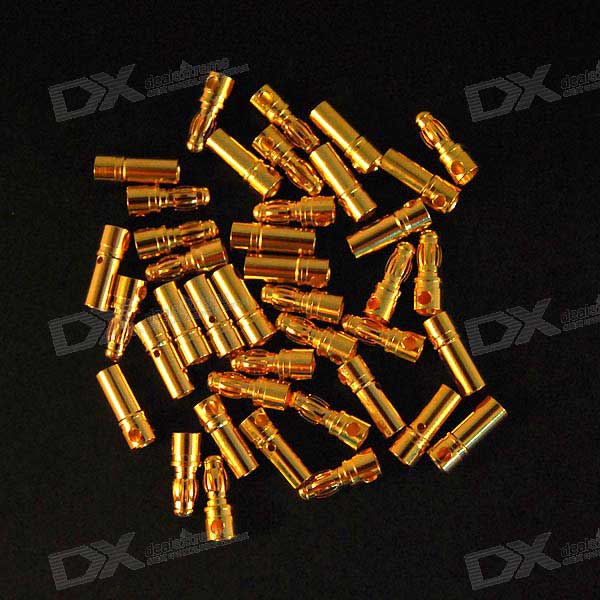 40 * 3.5mm Gold Plated Banana Connectors for R/C Model Batteries (20*Male + 20*Female)