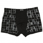 Men's Letter Pattern Bamboo Charcoal Fiber Anion Energy Boxer Brief Underwear - Black (Size-XXXL)