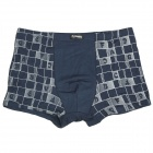 Men's Letter Pattern Bamboo Charcoal Fiber Anion Energy Boxer Brief Underwear - Blue (Size-XXXL)