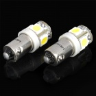 BA9S 1W 7000K 70-Lumen 5-5050 SMD LED White Light Car Dashboard / Corner Lamps (DC 24V / Pair)