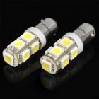 BA9S 1.8W 6500K 135-Lumen 9-5050 SMD LED White Light Car Dashboard / Corner Lamps (DC 24V / Pair)
