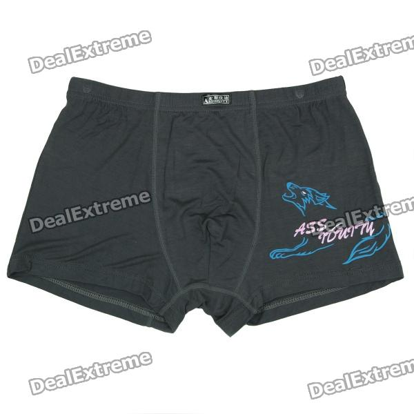 Men's Soft Modal Fabric Anion Energy Boxer Brief Underwear - Charcoal (Size-XXXXL)