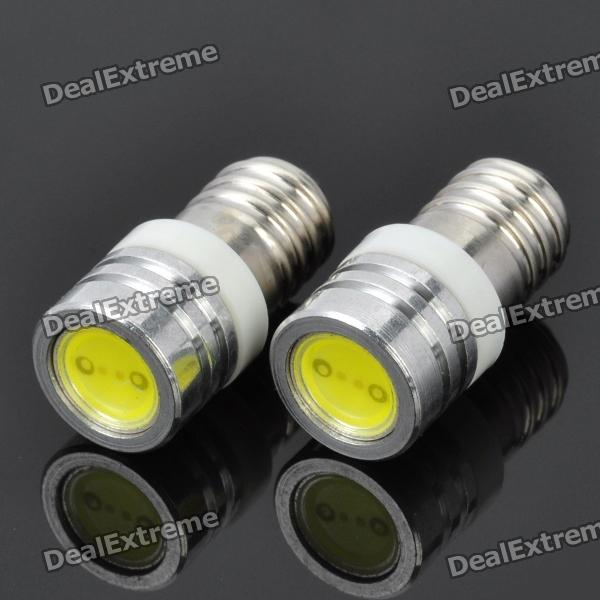 E10 1W 6500K 90-Lumen 1-LED White Light Car Dashboard / Width Lamps (DC 12V / Pair) 20pcs t5 5050 1smd wedge dashboard led white red blue green yellow pink car auto light interior dashboard bulb side lamps dc 12v