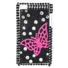 Shining Acrylic Diamond Butterfly Protective Back Case for iPod Touch 4 - Black