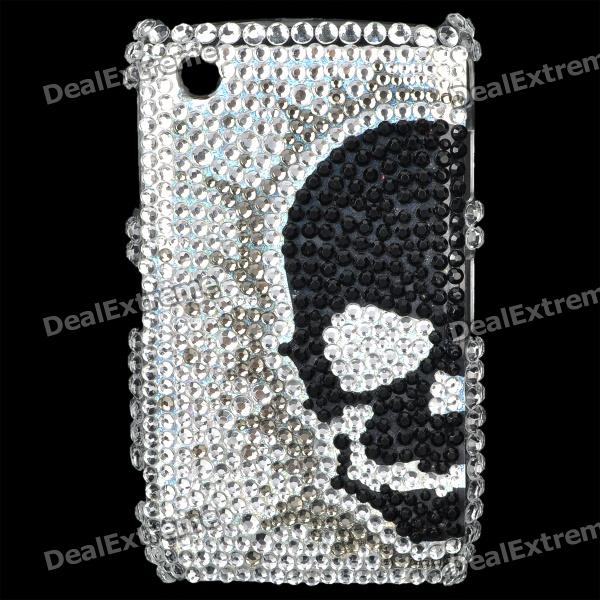 Skull Pattern Acrylic Diamond Protective Back Case for Blackberry 8520 / 8530 - Black + Silver fashion butterfly pattern acrylic diamond protective case for blackberry 8520 8530 silver blue