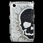 Skull Pattern Acrylic Diamond Protective Back Case for Blackberry 8520 / 8530 - Black + Silver