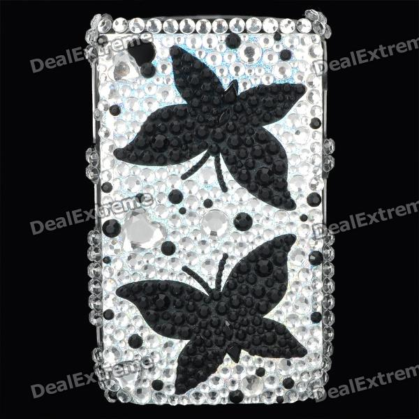 Shining Acrylic Diamond Butterfly Pattern Plastic Back Case for BlackBerry 8520 / 8530 - Silver fashion butterfly pattern acrylic diamond protective case for blackberry 8520 8530 silver blue