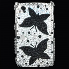 Shining Acrylic Diamond Butterfly Pattern Plastic Back Case for BlackBerry 8520 / 8530 - Silver