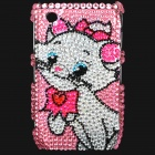 Shining Acrylic Diamond Cat Pattern Plastic Back Case for BlackBerry 8520 / 8530 - Pink