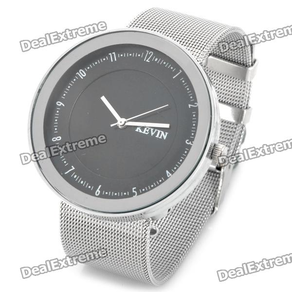 Steel Band Quartz Wrist Watch - Silver + Black (1 x 377) stylish bracelet band quartz wrist watch golden silver 1 x 377