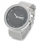 Steel Band Quartz Wrist Watch - Silver + Black (1 x 377)