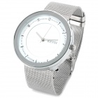 Steel Band Quartz Wrist Watch - Silver + White (1 x 377)
