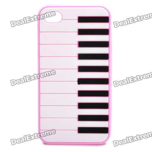 Stylish Piano Style Soft Silicone Case for Iphone 4 / 4S - Pink cool skull head style protective soft silicone back case for iphone 4 4s pink