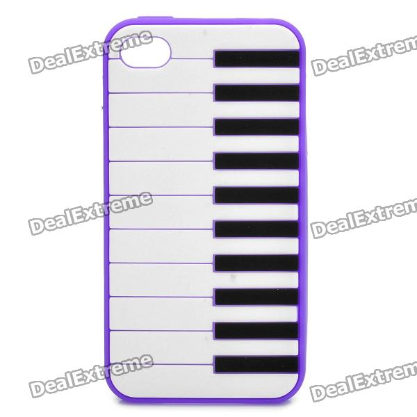 Stylish Piano Style Soft Silicone Case for Iphone 4 / 4S - Purple soft silicone anti noise earplug with cable and case purple