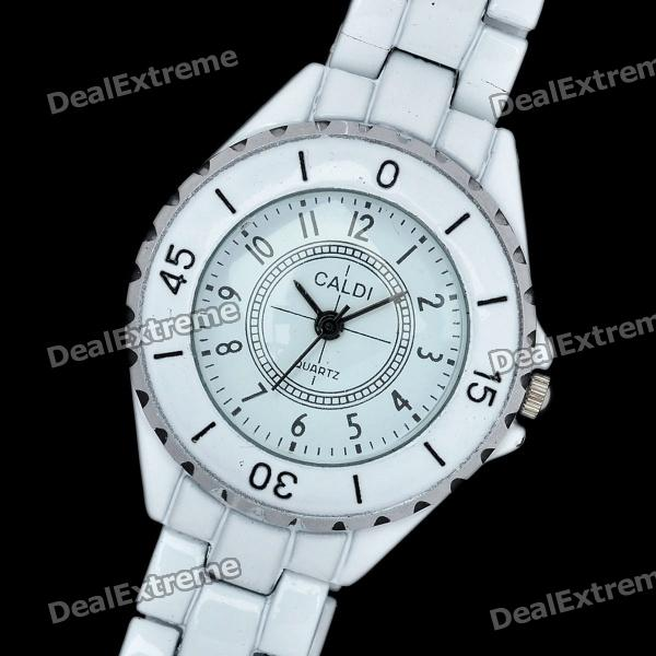 Stylish Lady's Stainless Steel Quartz Wrist Watch - White (1 x 3770K)