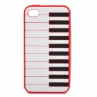 Stylish Piano Style Soft Silicone Case for Iphone 4 / 4S - Red