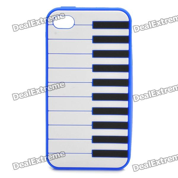 Stylish Piano Style Soft Silicone Case for Iphone 4 / 4S - Dark Blue stylish piano style soft silicone case for iphone 4 4s pink