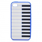 Stylish Piano Style Soft Silicone Case for Iphone 4 / 4S - Dark Blue