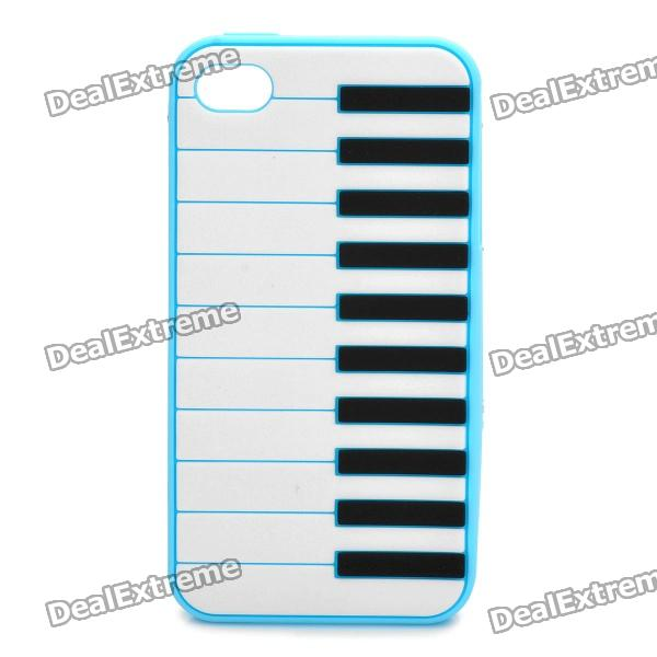 Stylish Piano Style Soft Silicone Case for Iphone 4 / 4S - Light Blue stylish piano style soft silicone case for iphone 4 4s pink
