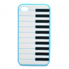 Stylish Piano Style Soft Silicone Case for Iphone 4 / 4S - Light Blue