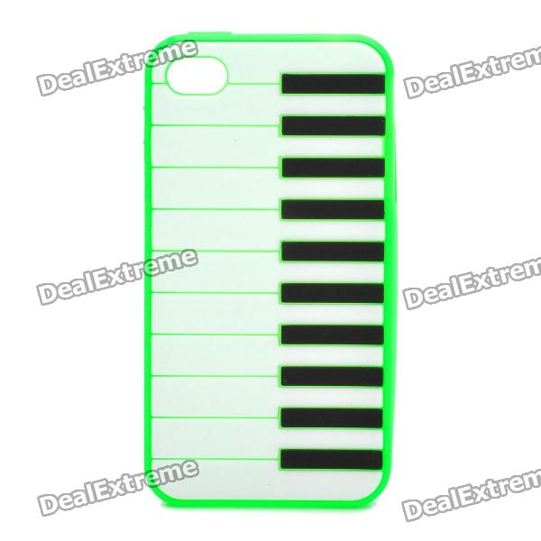Stylish Piano Style Soft Silicone Case for Iphone 4 / 4S - Green stylish piano style soft silicone case for iphone 4 4s pink