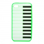 Stylish Piano Style Soft Silicone Case for Iphone 4 / 4S - Green