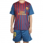 New Season Barcelona Football Team Shirt &amp; Shorts Set - Red + Blue (Number 10 Messi/Size L)