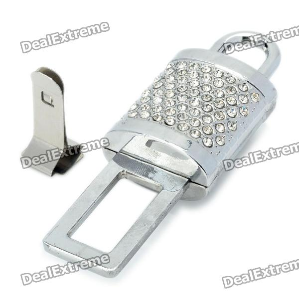 Safety Lock Style Imitation Diamonds Seat Belt Buckle with Clip - Silver