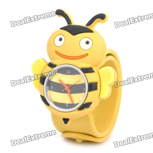 Cartoon Bee Style Silicone Band Quartz Wrist Watch - Yellow + Black (1 x SR626)Children Watches<br>Form  ColorBlackDisplayAnalogMovementQuartzWater ResistantFor daily wear. Suitable for everyday use. Wearable while water is being splashed but not under any pressure.Packing List<br>