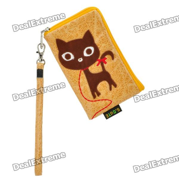 Fashionable S.CUTE Mobile Phone Carrying Bag/Pouch - Yellow + Brown