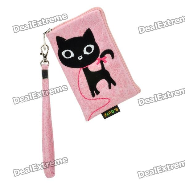 Fashionable S.CUTE Mobile Phone Carrying Bag/Pouch - Pink + Black