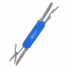 5-in-1 Portable Tool w/ Knife + Scissors + Nail File + Cross Screwdriver + Opener - Blue