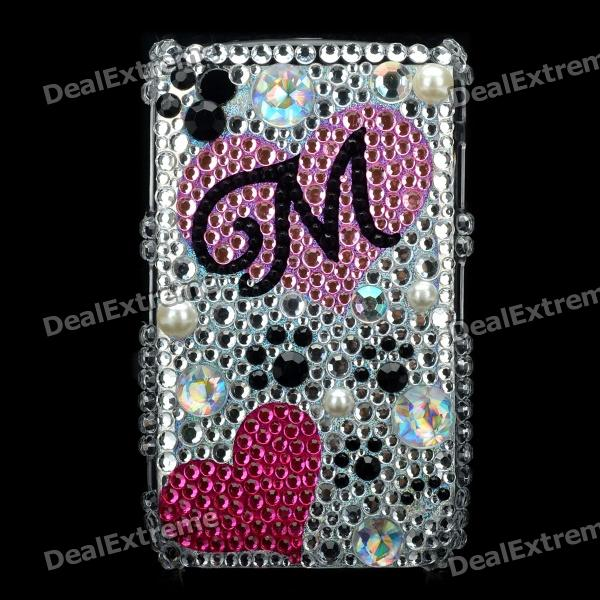 Love Heart Pattern Protective Crystal Case for Blackberry 8520 / 8530 - Silver + Pink fashion butterfly pattern acrylic diamond protective case for blackberry 8520 8530 silver blue