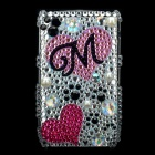 Love Heart Pattern Protective Imitation Diamonds Case for Blackberry 8520 / 8530 - Silver + Pink