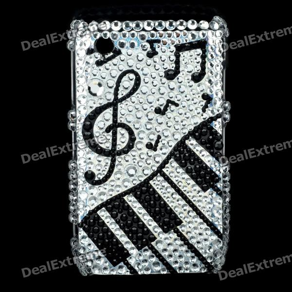 Music Symbols Pattern Protective Crystal Case for Blackberry 8520 / 8530 - Black + Silver fashion butterfly pattern acrylic diamond protective case for blackberry 8520 8530 silver blue