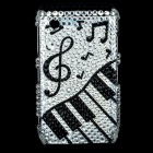 Music Symbols Pattern Protective Imitation Diamonds Case for Blackberry 8520 / 8530 - Black + Silver