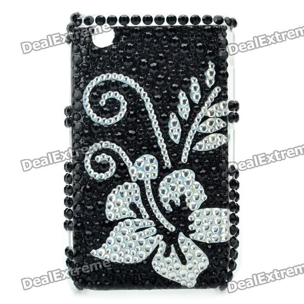 Flower Pattern Protective Crystal Back Case for Blackberry 8520 / 8530 - Black + Silver fashion butterfly pattern acrylic diamond protective case for blackberry 8520 8530 silver blue