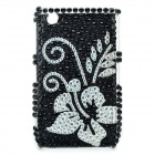 Flower Pattern Protective Crystal Back Case for Blackberry 8520 / 8530 - Black + Silver