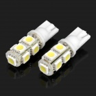 T10 2W 6500K 126LM 9-LED White Light Bulbs for Car - Pair (12V)