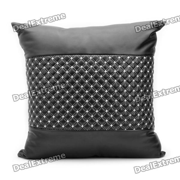 Car & Home Leather Pillow Cushion - Black + White