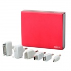 6600mAh Mobile External Power Battery Pack w/ Dual USB Ports & Charging Adapters - Red