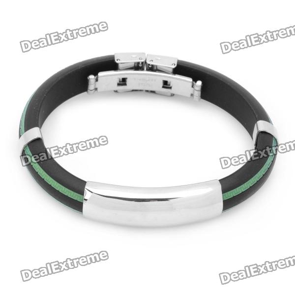 Stainless Steel Pressure Reduction Magnetic Bracelets Bangles - Black + Green 100pcs hot sale good effect magnetic treatment plaster health care patch pain relief muscle relax 10 sheets lot