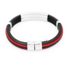 Stainless Steel Pressure Reduction Magnetic Bracelets Bangles - Black + Red