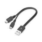 USB Male to Micro USB + Mini USB Male Data Charging Cable -Black(15cm)