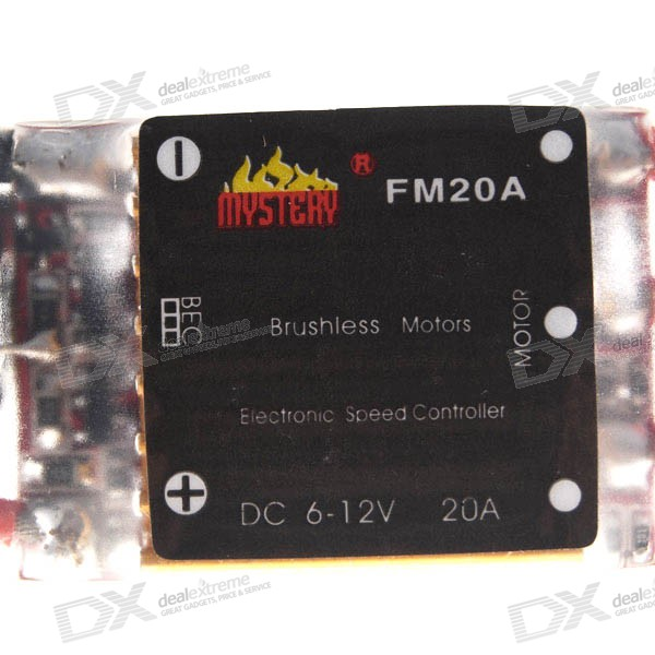 Mystery BEC ESC for Brushless Motors (2601-20A FM20A 6~12V) mystery speed controller 60a bec for brushless motors on r c helicopters