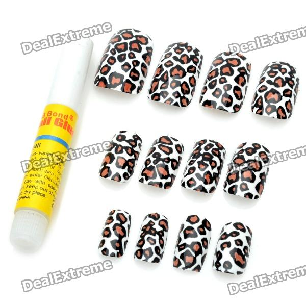 Art Design Leopard Vein Decorative False Nail Tips (12-Piece) action pack glue and tips [set of 3]