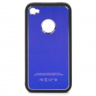 Protective PV Back Case w/ Aluminum Alloy Cover / Screen Guard for iPhone 4 / 4S - Blue