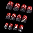 Art Design Plum Blossom Decorative False Nail Tips - Transparent + Red (12-Piece)