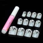 Art Design Butterfly Decorative False Nail Tips - Silvery White + Black (12-Piece)